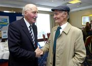 23 May 2005; Mick Higgins, Cavan, and Teddy Sullivan, Kerry, right, in conversation at the inaugural Lucozade Sport sponsored Association of Sports Journalists in Ireland Sporting Legends lunch to honour the surviving members of the 1947 All-Ireland Football Final played in the Polo Grounds, New York. Jury's Hotel, Ballsbridge, Dublin. Picture credit; Ray McManus / SPORTSFILE