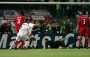 25 May 2005; AC Milan players Andriy Shevchenko, left, and Herrnan Crespo celebrate after team-mate Paolo Maldini had scored his sides first goal as Liverpool players, Dimi Traore, Jerzy Dudek and Steve Finnan look on. UEFA Champions League Final, Liverpool v AC Milan, Ataturk Olympic Stadium, Istanbul, Turkey. Picture credit; David Maher / SPORTSFILE