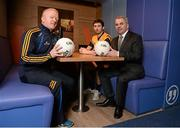 31 January 2014; Bank of Ireland is delighted to confirm it has extended its partnership with the DCU Sports Academy for a further three years to the end of June 2016. Pictured are, from left, Michael Kennedy, Director of DCU GAA Academy, Roscommon footballer Colin Compton and Gabriel Bannigan, Regional Manager, Dublin, Bank of Ireland, in attendance at the renewal announcement of the Bank of Ireland sponsorship of DCU Sports Academy. Bank of Ireland Branch, DCU, Dublin Picture credit: Barry Cregg / SPORTSFILE