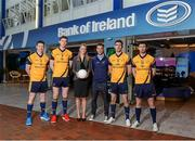31 January 2014; Bank of Ireland is delighted to confirm it has extended its partnership with the DCU Sports Academy for a further three years to the end of June 2016. Pictured are, from left, Longford footballer Michael Quinn, Galway footballer Tom Flynn, Bernadette Linnane, Branch Manager DCU, Bank of Irleand, Dublin footballer Jonny Cooper, Laois footballer Colm Begley and Roscommon footballer Colin Compton in attendance at the renewal announcement of the Bank of Ireland sponsorship of DCU Sports Academy. Bank of Ireland Branch, DCU, Dublin Picture credit: Barry Cregg / SPORTSFILE
