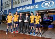 31 January 2014; Bank of Ireland is delighted to confirm it has extended its partnership with the DCU Sports Academy for a further three years to the end of June 2016. Pictured are, from left, Laois footballer Colm Begley, Galway footballer Tom Flynn, Gerry McInerney, Area Manager Bank of Ireland, Gabriel Bannigan, Regional Manager, Dublin, Bank of Ireland, Longford footballer Michael Quinn and Roscommon footballer Colin Compton in attendance at the renewal announcement of the Bank of Ireland sponsorship of DCU Sports Academy. Bank of Ireland Branch, DCU, Dublin Picture credit: Barry Cregg / SPORTSFILE