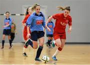 31 January 2014; Julie-Ann Russell, UCD, in action against Aileen Gilroy, Sligo IT. WSCAI National Futsal Final, UCD v Sligo IT, The Mardyke, UCC, Cork. Picture credit: Diarmuid Greene / SPORTSFILE