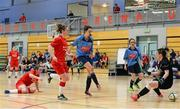 31 January 2014; Niamh Walsh, UCD, shoots to score her side's second goal past Sligo IT goalkeeper Rachel King. WSCAI National Futsal Final, UCD v Sligo IT, The Mardyke, UCC, Cork. Picture credit: Diarmuid Greene / SPORTSFILE