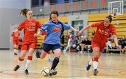 31 January 2014; Ciara Grant, UCD, in against Emma Hansberry, left, and Nicole Fowley, Sligo IT. WSCAI National Futsal Final, UCD v Sligo IT, The Mardyke, UCC, Cork. Picture credit: Diarmuid Greene / SPORTSFILE