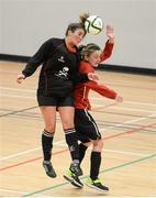 31 January 2014; Zoe Murphy, UCC, in action against Aoife Moloney, Carlow IT. WSCAI National Futsal Finals, Plate Final, UCC v Carlow IT, The Mardyke, UCC, Cork. Picture credit: Diarmuid Greene / SPORTSFILE