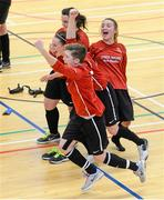 31 January 2014; Carlow IT players celebrate after defeating UCC in the Plate Final penalty shootout. WSCAI National Futsal Finals, Plate Final, UCC v Carlow IT, The Mardyke, UCC, Cork. Picture credit: Diarmuid Greene / SPORTSFILE