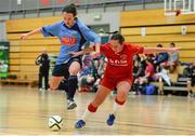 31 January 2014; Ciara Grant, UCD, in against Nicole Fowley, Sligo IT. WSCAI National Futsal Final, UCD v Sligo IT, The Mardyke, UCC, Cork. Picture credit: Diarmuid Greene / SPORTSFILE