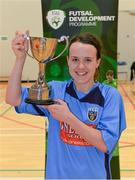31 January 2014; UCD captain Ciara Grant lifts the cup after victory over IT Sligo. WSCAI National Futsal Final, The Mardyke, UCC, Cork. Picture credit: Diarmuid Greene / SPORTSFILE