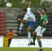 3 June 2005; John Fitzgerald, Republic of Ireland U21, in action against Robel Sarsour, Israel U21. European U21 Championship Qualifier, Republic of Ireland U21 v Israel U21, Flancare Park, Longford. Picture credit; Pat Murphy / SPORTSFILE