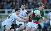 2 February 2014; Adam Gallagher, Mayo, in action against David Hyland, Kildare. Allianz Football League, Division 1, Round 1, Kildare v Mayo, St Conleth's Park, Newbridge, Co. Kildare. Picture credit: Piaras Ó Mídheach / SPORTSFILE