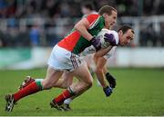2 February 2014; Andy Moran, Mayo, in action against Kevin Murnaghan, Kildare. Allianz Football League, Division 1, Round 1, Kildare v Mayo, St Conleth's Park, Newbridge, Co. Kildare. Picture credit: Piaras Ó Mídheach / SPORTSFILE