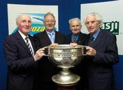 23 May 2005; Cavan stars, from left, Mick Higgins, Tony Tighe, Simon Deignan and John Wilson, with the Sam Maguire cup at the inaugural Lucozade Sport sponsored Association of Sports Journalists in Ireland Sporting Legends lunch to honour the surviving members of the 1947 All-Ireland Football Final played in the Polo Grounds, New York. Jury's Hotel, Ballsbridge, Dublin. Picture credit; Ray McManus / SPORTSFILE