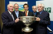 23 May 2005; Cavan stars, from left, Mick Higgins, Tony Tighe, Simon Deignan and John Wilson, with the Sam Maguire cup and Tom Cronin, of sponsors, Lucozade Sport, centre, at the inaugural Association of Sports Journalists in Ireland Sporting Legends lunch to honour the surviving members of the 1947 All-Ireland Football Final played in the Polo Grounds, New York. Jury's Hotel, Ballsbridge, Dublin. Picture credit; Ray McManus / SPORTSFILE