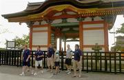 9 June 2005; Members of the Irish rugby team, from left, Anthony Horgan, kicking coach Mark Tainton, Gavin Duffy, Kieran Campbell, Kieran Lewis and Reggie Corrigan, on a visit to the grounds of Kiyomizu Temple in Kyoto, Japan. Picture credit; Brendan Moran / SPORTSFILE