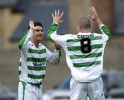 12 June 2005; Willo McDonagh, left, Shamrock Rovers, celebrates after scoring his sides first goal with team-mate Paul Caffrey. FAI Carlsberg Cup 2nd Round, Shamrock Rovers v Fanad United, Dalymount Park, Dublin. Picture credit; David Maher / SPORTSFILE