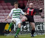 12 June 2005; David Mooney, Shamrock Rovers, in action against Paul Lynch, Fanad United. FAI Carlsberg Cup 2nd Round, Shamrock Rovers v Fanad United, Dalymount Park, Dublin. Picture credit; David Maher / SPORTSFILE