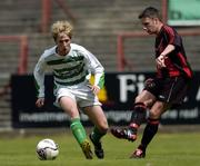 12 June 2005; Mark Friel, Fanad United, in action against Paul Malone, Shamrock Rovers. FAI Carlsberg Cup 2nd Round, Shamrock Rovers v Fanad United, Dalymount Park, Dublin. Picture credit; David Maher / SPORTSFILE