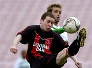 12 June 2005; Shane Sweeney, Fanad United, in action against Lee Feeney, Shamrock Rovers. FAI Carlsberg Cup 2nd Round, Shamrock Rovers v Fanad United, Dalymount Park, Dublin. Picture credit; David Maher / SPORTSFILE