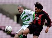 12 June 2005; Paul Nash, Fanad United, in action against Paul Caffrey, Shamrock Rovers. FAI Carlsberg Cup 2nd Round, Shamrock Rovers v Fanad United, Dalymount Park, Dublin. Picture credit; David Maher / SPORTSFILE