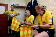 12 June 2005; Referee, Pat Whelan, left, with his assistants Barry McDonnell and Rhona Daly before the start of the game. FAI Carlsberg Cup 2nd Round, Shamrock Rovers v Fanad United, Dalymount Park, Dublin. Picture credit; David Maher / SPORTSFILE