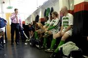 12 June 2005; Shamrock Rovers manager Roddy Collins with his players in their dressing room before the start of the game. FAI Carlsberg Cup 2nd Round, Shamrock Rovers v Fanad United, Dalymount Park, Dublin. Picture credit; David Maher / SPORTSFILE