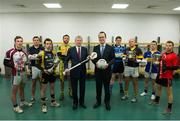 5 February 2014; #TheToughest – Ard Stiúrthóir of the GAA Páraic Duffy, and Tom Kinsella, 5th from right, Group Marketing Director, AIB, with players, from left, Darragh O'Donoghue, Kilnadeema/Leitrim, Co. Galway, Kieran Joyce, Rower Inistioge, Kilkenny, Niall Kilroy, Fuerty, Roscommon, Niall Browne, Two Mile House, Kildare, Christopher Murphy, Ballysaggart, Waterford, Stephen Colgan, Creggan Kickhams, Antrim, Mikey Sweeney, Kiltane, Mayo and Daniel McKenna, Truagh, Monaghan, in advance of his sides AIB GAA Club Championship Junior and Intermediate Hurling and Football Finals in Croke Park on the 8th and 9th February. For exclusive content and to see why the AIB Club Championships is the 'toughest of them all' follow us @AIB_GAA and #theToughest. Croke Park, Dublin. Picture credit: Brendan Moran / SPORTSFILE