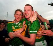 Liam Hassett Kerry Captain celebrates at the end of the game with fellow player Michael Francis Russell, All Ireland Football Final 1997, Croke Park, 28/9/97. Photograph Ray McManus SPORTSFILE.