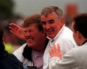 Sligo manager Mickey Moran, right, is congratulated by fans after his side's victory over Roscommon in the Connacht Football C'ship semi-final. 22/6/97. Photograph: SPORTSFILE.