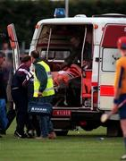 Galway's Joe Rabbitte who was injured in the game, is taken from the field by Ambulance. Roscommon V Galway , Athleague, 12th July 1997 Photograph Ray McManus SPORTSFILE