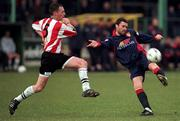 14 February 1999; Ian Gilzean of St Patrick's Athletic in action against Paul Curran of Derry City during the Harp Lager National League Premier Division match between Derry City and St Patrick's Athletic at The Brandywell Stadium in Derry. Photo by David Maher/Sportsfile