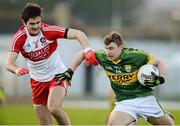 9 February 2014; James O'Donoghue, Kerry, in action against  Chrissy McKaigue, Derry. Allianz Football League, Division 1, Round 2, Kerry v Derry, Fitzgerald Stadium, Killarney, Co. Kerry. Picture credit: Diarmuid Greene / SPORTSFILE