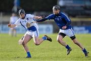 9 February 2014; Kevin Hynes, Connacht, in action against Patrick Donnellan, Munster. Interprovincial Hurling Championship Semi-Final, Connacht v Munster, Duggan Park, Ballinasloe, Co. Galway. Picture credit: Ramsey Cardy / SPORTSFILE