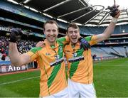 9 February 2014; Matt Kelly, left, and Mark Sherry, Two Mile House, celebrate after the game. AIB GAA Football All Ireland Junior Club Championship Final, Two Mile House, Kildare v Fuerty, Roscommon. Croke Park, Dublin. Picture credit: Paul Mohan / SPORTSFILE