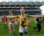 9 February 2014; Nathan Sherry, Two Mile House, celebrates after the game. AIB GAA Football All Ireland Junior Club Championship Final, Two Mile House, Kildare v Fuerty, Roscommon. Croke Park, Dublin. Picture credit: Paul Mohan / SPORTSFILE