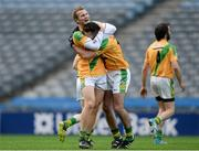 9 February 2014; Peter Kelly, left, and Aidan Casey, Two Mile House, celebrate at the final whistle. AIB GAA Football All Ireland Junior Club Championship Final, Two Mile House, Kildare v Fuerty, Roscommon. Croke Park, Dublin. Picture credit: Paul Mohan / SPORTSFILE