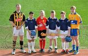 11 February 2014; In attendance at the launch of the 2014 Allianz Hurling Leagues are Kilkenny's Tommy Walsh, left, and Clare's Padraic Collins with Cumann na mBunscoil players, from left, Tmoni Nolan, Holly Jo Clarke, Cian Hand and Ciarán Brennan, all from Dublin. The opening weekend of the Allianz Hurling League will see the current Division 1A champions Kilkenny take on the All-Ireland title holders Clare in Cusack Park, Ennis, on Sunday. Croke Park, Dublin. Picture credit: Brendan Moran / SPORTSFILE