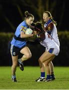 11 February 2014; Clara Fitzpatrick, University College Dublin, in action against Charlotte Cooney and Sarah Tierney, right, University Limerick. HE GAA O'Connor Cup 2014, University College Dublin v University Limerick, UCD, Belfield, Dublin. Picture credit: Barry Cregg / SPORTSFILE