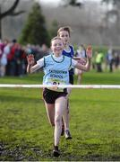 12 February 2014; Jodie McCann, Rathdown, Co. Dublin,  leads Annie O'Connor, Loreto, Co. Kilkenny, over the line in the Junior Girl's race in the Aviva Leinster Schools Cross Country Championships. Santry Demesne, Santry, Co. Dublin. Picture credit: Ramsey Cardy / SPORTSFILE