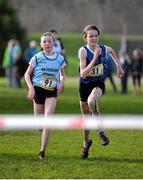 12 February 2014; Jodie McCann, Rathdown, Co. Dublin, left, battles with Annie O'Connor, Loreto, Co. Kilkenny, before the finish line in the Junior Girl's race in the Aviva Leinster Schools Cross Country Championships. Santry Demesne, Santry, Co. Dublin. Picture credit: Ramsey Cardy / SPORTSFILE