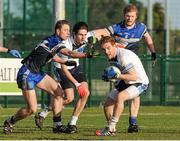 13 February 2014; Luke Keaney, University of Ulster Jordanstown, supported by teammate Chris McKaigue, in action against Conor Madden, left, and Tomás O Connor, Dublin Institute of Technology. Irish Daily Mail HE GAA Sigerson Cup 2014 Quarter-Final, Dublin Institute of Technology v University of Ulster Jordanstown, Parnells GAA Club, Coolock, Dublin. Picture credit: Piaras Ó Mídheach / SPORTSFILE