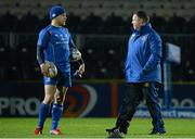 14 February 2014; Leinster's Ian Madigan, left, in conversation with head coach Matt O'Connor before the game. Celtic League 2013/14 Round 14, Leinster v Newport Gwent Dragons, RDS, Ballsbridge, Dublin. Picture credit: Pat Murphy / SPORTSFILE