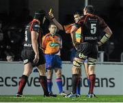 14 February 2014; Nathan Buck, left, Newport Gwent Dragons, is sent to the sin-bin by referee Marius Mitrea. Celtic League 2013/14 Round 14, Leinster v Newport Gwent Dragons, RDS, Ballsbridge, Dublin. Picture credit: Piaras Ó Mídheach / SPORTSFILE