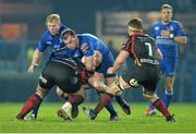 14 February 2014; Rhys Ruddock, Leinster, is tackled by Owen Evans, Newport Gwent Dragons. Celtic League 2013/14 Round 14, Leinster v Newport Gwent Dragons, RDS, Ballsbridge, Dublin. Picture credit: Ramsey Cardy / SPORTSFILE