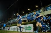 14 February 2014; Leinster's Leo Cullen and Eoin Reddan make their way out for the start of the second half. Celtic League 2013/14 Round 14, Leinster v Newport Gwent Dragons, RDS, Ballsbridge, Dublin. Picture credit: Ramsey Cardy / SPORTSFILE