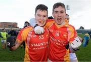 15 February 2014; Cian Costello, left, and James Durcan, Castlebar Mitchels, celebrate after the game. AIB GAA Football All-Ireland Senior Club Championship, Semi-Final, Castlebar Mitchels, Mayo v Dr. Crokes, Kerry. O'Moore Park, Portlaoise, Co. Laois. Picture credit: Paul Mohan / SPORTSFILE