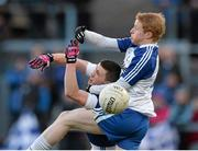 15 February 2014; Kevin Bonnie, St Vincent's, in action against Colin Devlin, Ballinderry. AIB GAA Football All-Ireland Senior Club Championship, Semi-Final, St Vincent's, Dublin v Ballinderry, Derry. Páirc Esler, Newry, Co. Down. Picture credit: Oliver McVeigh / SPORTSFILE