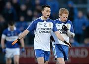 15 February 2014; A disappointed Dermot McGuckin, left, and Coilin Devlin, Ballinderry, after the game. AIB GAA Football All-Ireland Senior Club Championship, Semi-Final, St Vincent's, Dublin v Ballinderry, Derry. Páirc Esler, Newry, Co. Down. Picture credit: Oliver McVeigh / SPORTSFILE