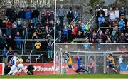 16 February 2014; Henry Shefflin, Kilkenny, has his penalty saved by Clare goalkeeper Donal Tuohy, alongside Colin Ryan, left, and Patrick Donnellan, right. Allianz Hurling League, Division 1A, Round 1, Clare v Kilkenny, Cusack Park, Ennis, Co. Clare. Picture credit: Diarmuid Greene / SPORTSFILE