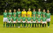 3 July 2005; The Republic of Ireland Senior Women squad, front row, left to right, Edel Malone, Michele O'Brien, Denise Thomas, Ciara Grant, Sonya Hughes, Emma Griffin, Laura Hislop, Clare Scanlan, back row, left to right, Kacey O'Driscoll, Marie Curtin, Yvonne Tracy, Carmel Kissane, Janine Pepper, Emma Byrne, Sharon Boyle, Dolores Deasley, Marie Gallagher, Elaine O'Connor. AUL Complex, Clonshaugh, Dublin. Picture credit; Brian Lawless / SPORTSFILE