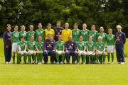 3 July 2005; The Republic of Ireland Senior Women squad, front row, left to right, Edel Malone, Michele O'Brien, Denise Thomas, Myles Kelly, Assistant Coach, Ciara Grant, Noel King, Manager, Sonya Hughes, Emma Griffin, Laura Hislop, back row, left to right, Mary Moynihan, Chartered Physiotherapist, Kacey O'Driscoll, Marie Curtin, Yvonne Tracy, Carmel Kissane, Janine Pepper, Gerrard Dunne, Goalkeeping coach, Emma Byrne, Sharon Boyle, Dolores Deasley, Marie Gallagher, Elaine O'Connor, Clare Scanlan, George O'Regan, Kitman. AUL Complex, Clonshaugh, Dublin. Photo by Brian Lawless/Sportsfile